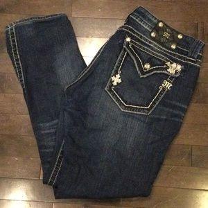 Miss me jeans rhinestone cross pockets size 33